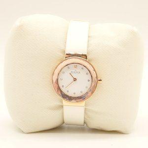 NWT SKAGEN Leonora Watch White Leather Gold Case